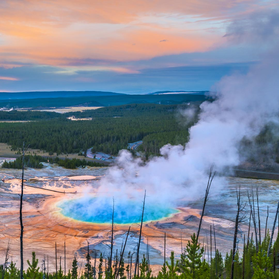 steam wafting from the grand prismatic spring