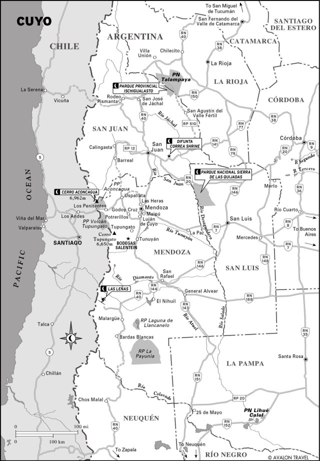 Map of Cuyo, Argentina