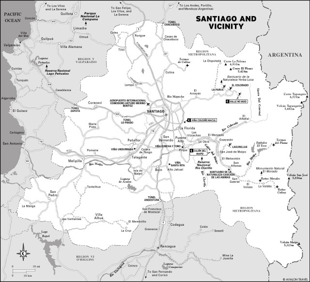 Map of Santiago and Vicinity, Chile
