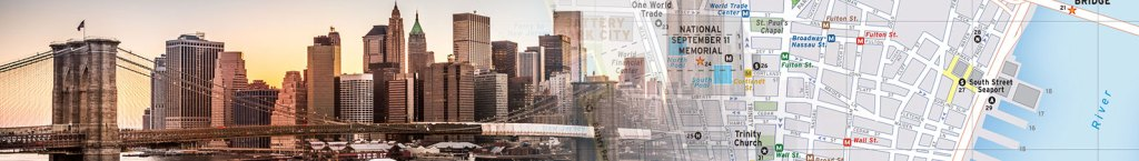 Travel map header featuring a photo collage of new york with a map