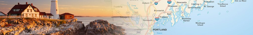 Travel map header featuring a photo of coastal maine and a travel map