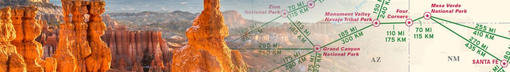 Printable travel map page header featuring photo of Utah collaged with a travel map