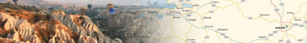 Printable travel map header featuring photo of turkey collaged with a map
