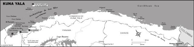 Map of Kuna Yala, Panama