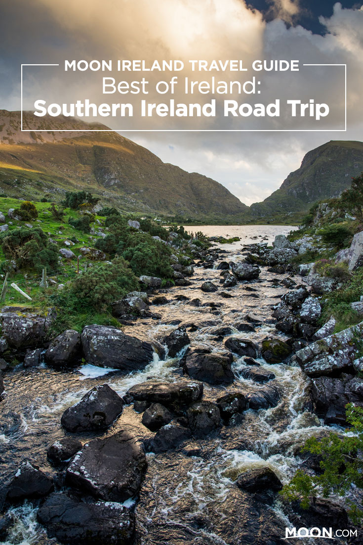 Pinterest graphic with a photo of southern Ireland landscape including mountains and a babbling brook