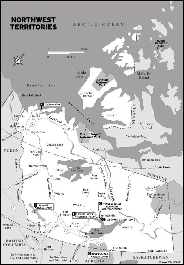 Map of Northwest Territories, CA