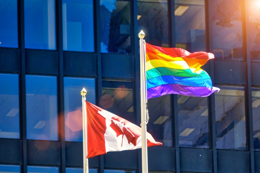 pride flag flying high in Toronto