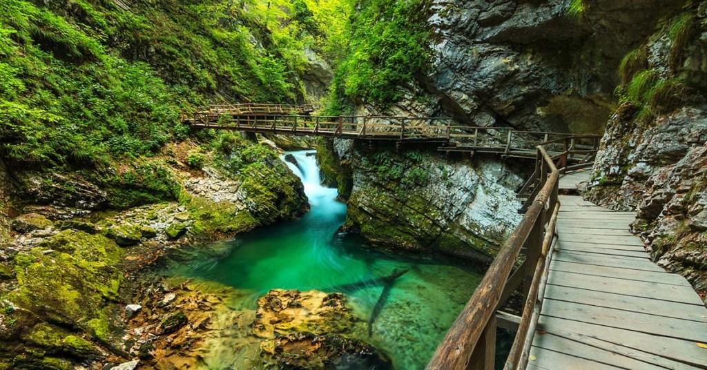 A wooden path passing through Vintgar gorge in Bled, Triglav, Slovenia
