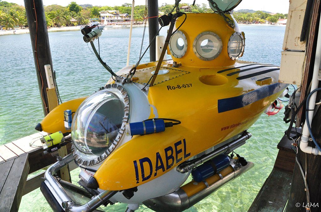 The submersible Idabel in Roatan Honduras docked above water.