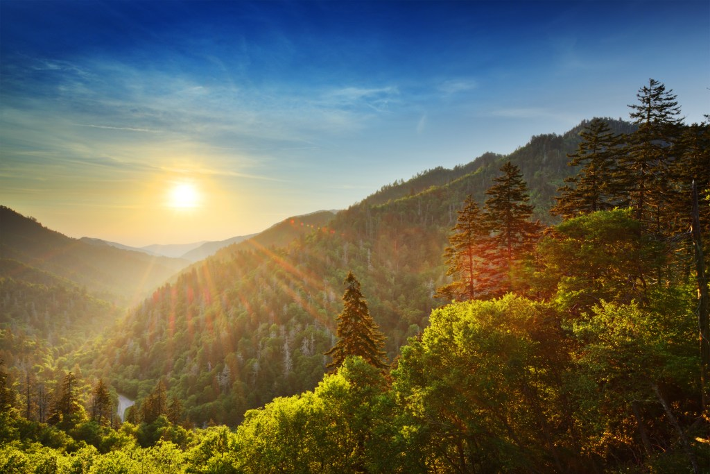 Newfound Gap on the border of North Carolina and Tennessee
