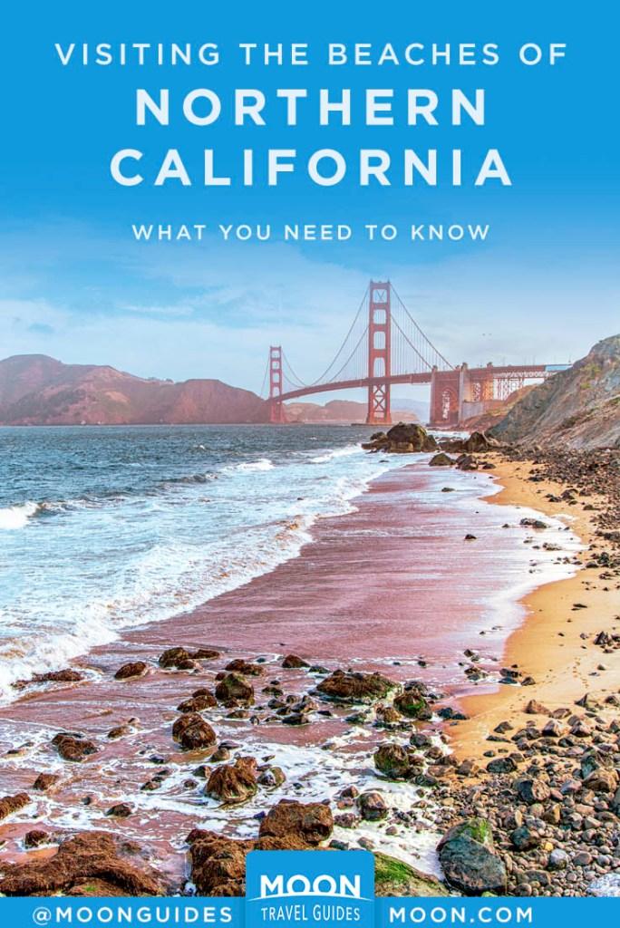 Rocky beach with Golden Gate Bridge in bg. Pinterest Graphic, NorCal beaches.