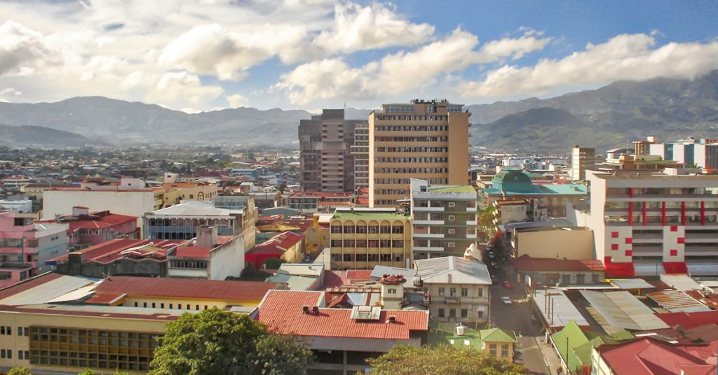 blue sky with clouds over the city of San Jose in Costa Rica