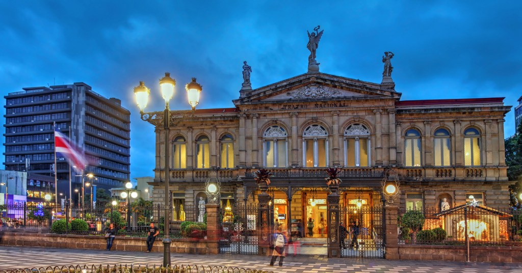 evening view of the national theater of costa rica building
