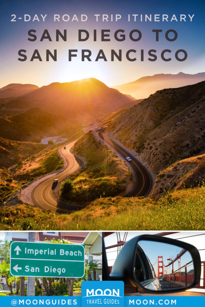 Cars traveling down a twisting California canyon during sunset, San Diego freeway sign, Golden Gate Bridge in rearview mirror. Pinterest graphic.