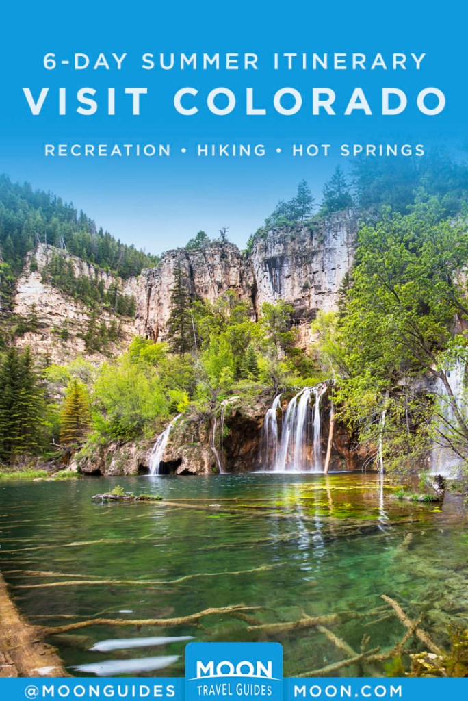 Glenwood Spings, CO, waterfalls running into a pond. Pinterest Graphic.