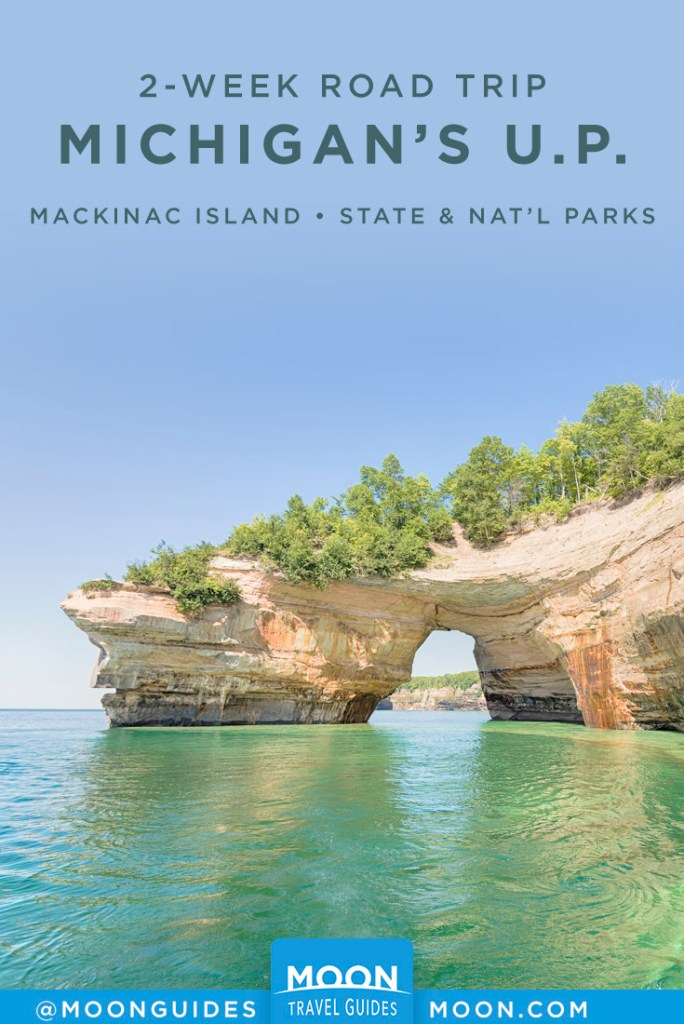 Cliffside and water view at Pictured Rocks, MI. Pinterest Graphic.