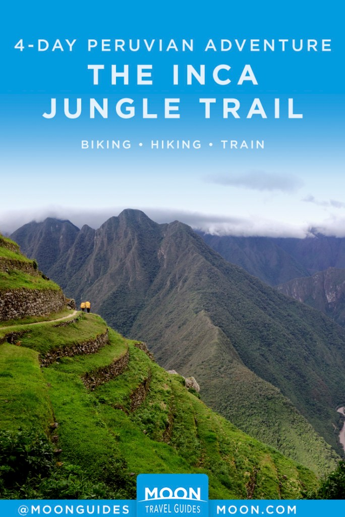 Couple walking on a terraced, steep mountain in Peru. Pinterest graphic.