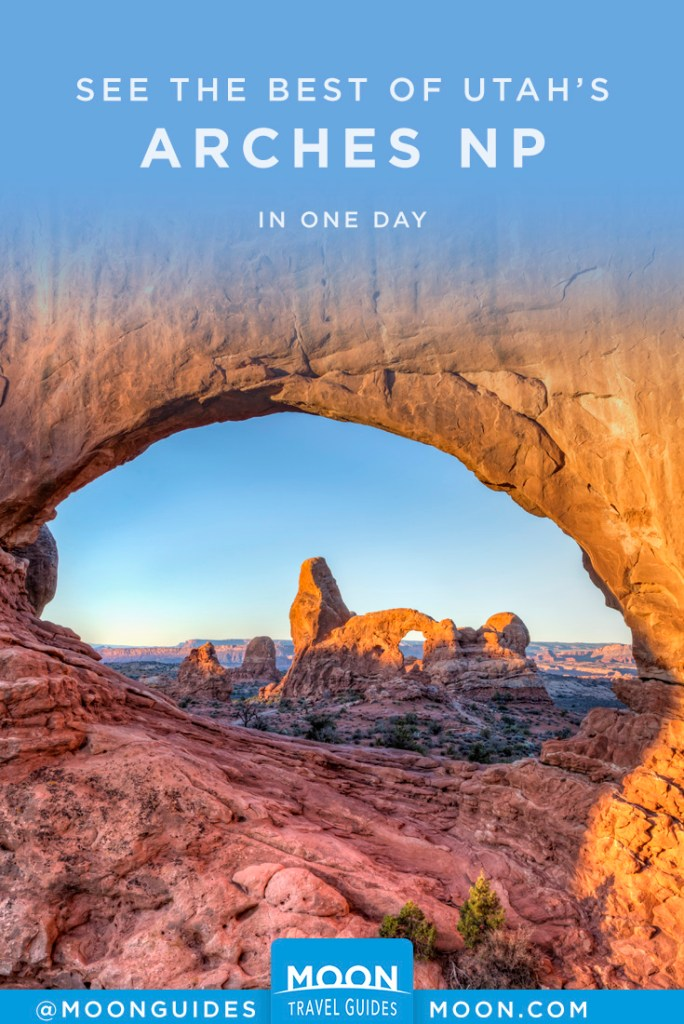 A stone arch formation viewed through a stone arch. Pinterest graphic.