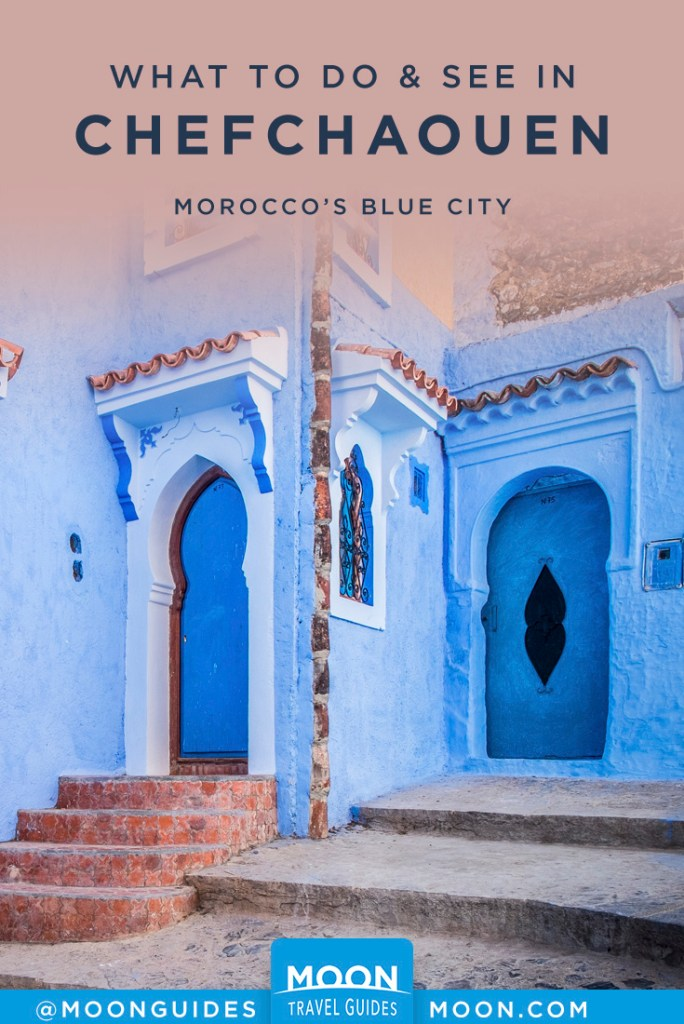 Bright blue buildings with decorative doorways. Pinterest graphic.