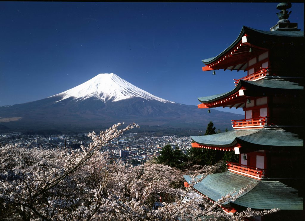 Chureito Peace Pagoda with mount fuji in the distance