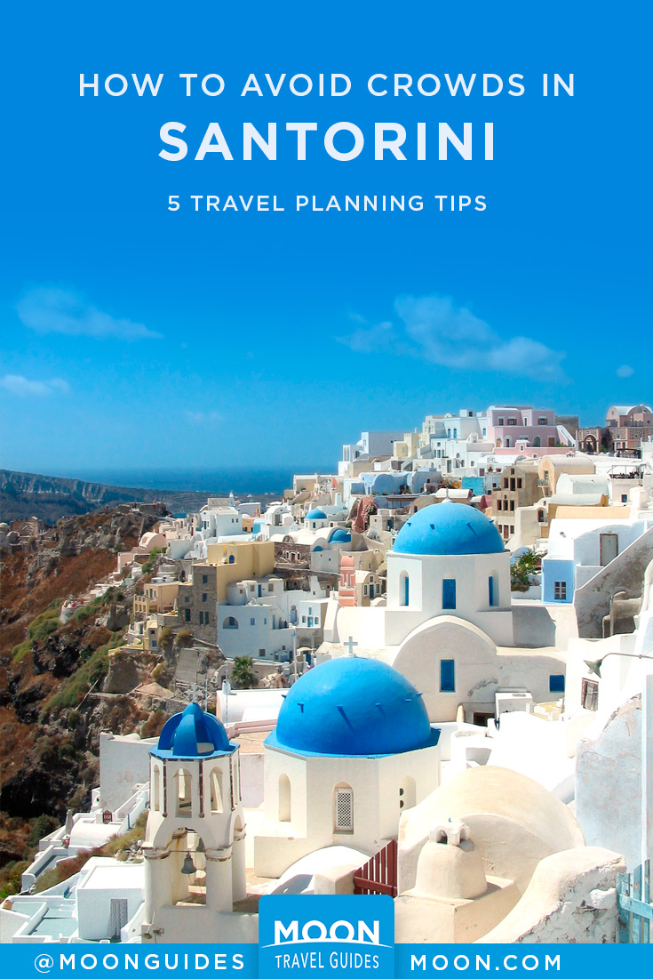 avoid crowds in santorini pinterest graphic