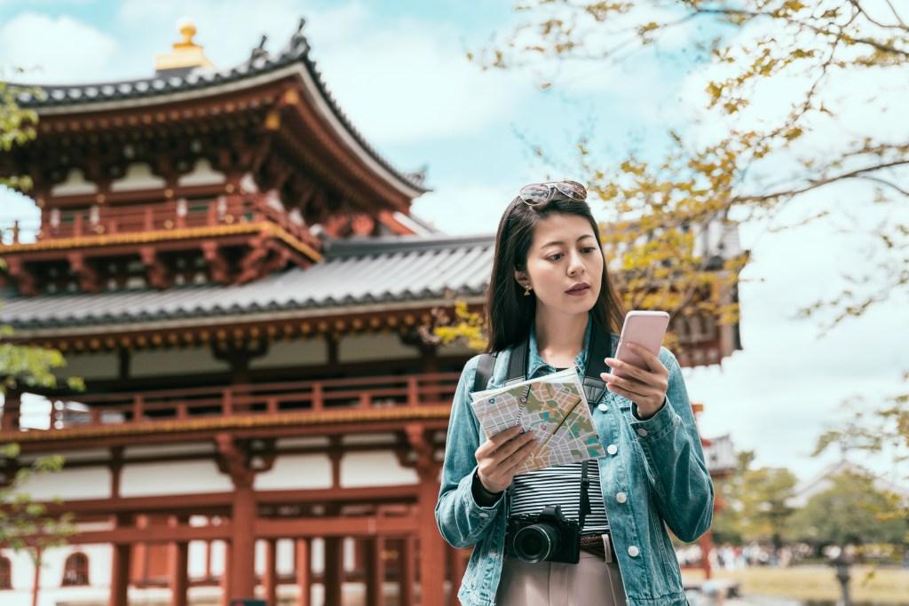 Woman using language app