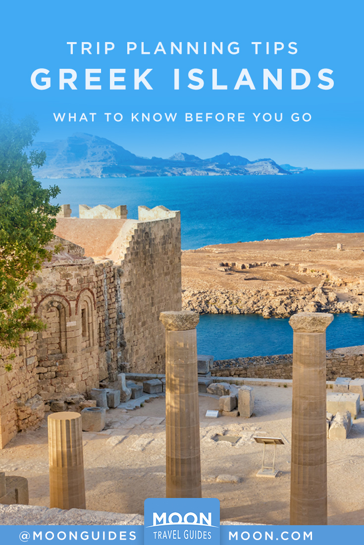 trip planning greek islands pinterest graphic