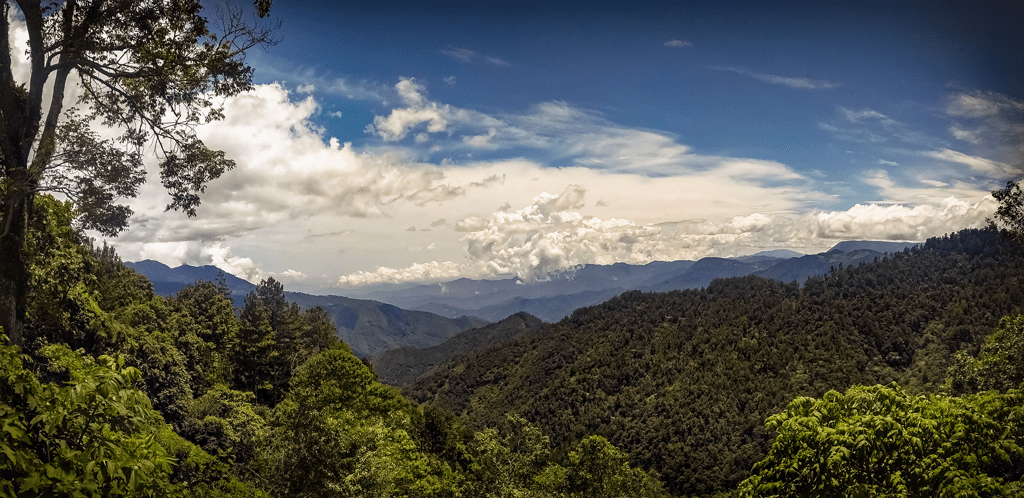 Image of San Jose Pacifico mountains with clear blue skies.