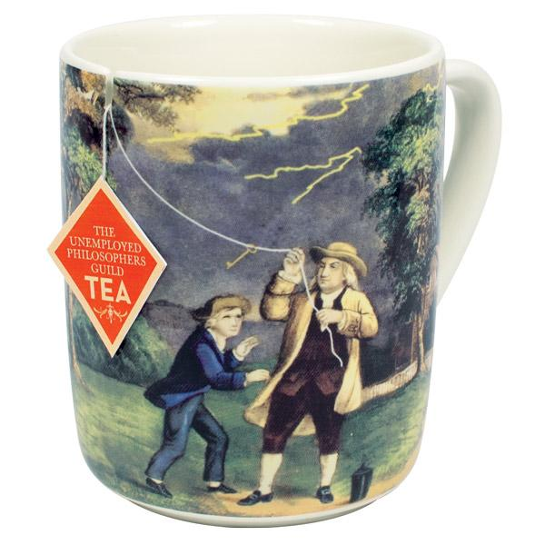 Photo of a tea mug featuring benjamin franklin.