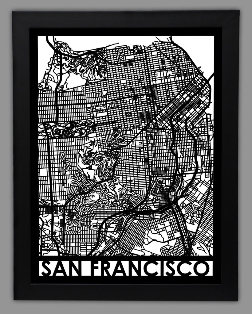 a photo of a framed san francisco map