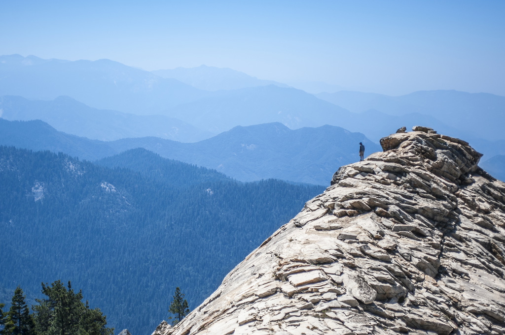man standing on top of big baldy ridge