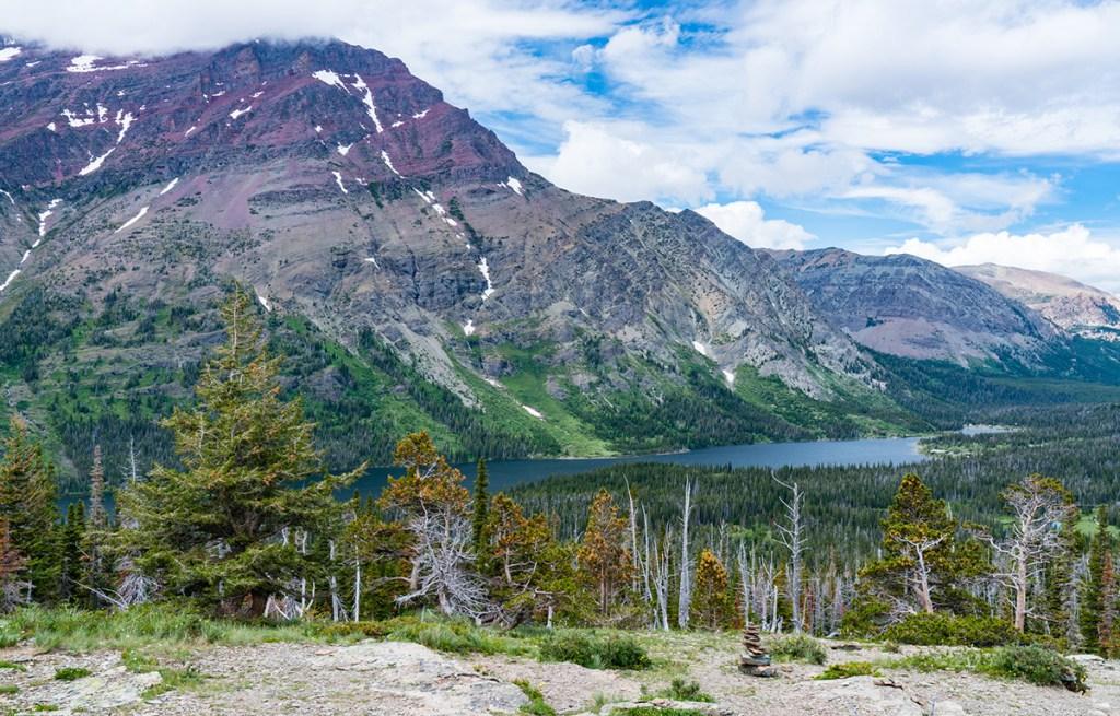 wide landscape view of two medicine lake in glacier national park