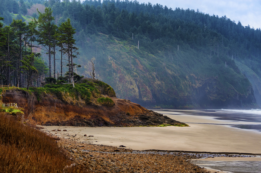 Landscape view of the beach at Cape Lookout on the Oregon Coast.