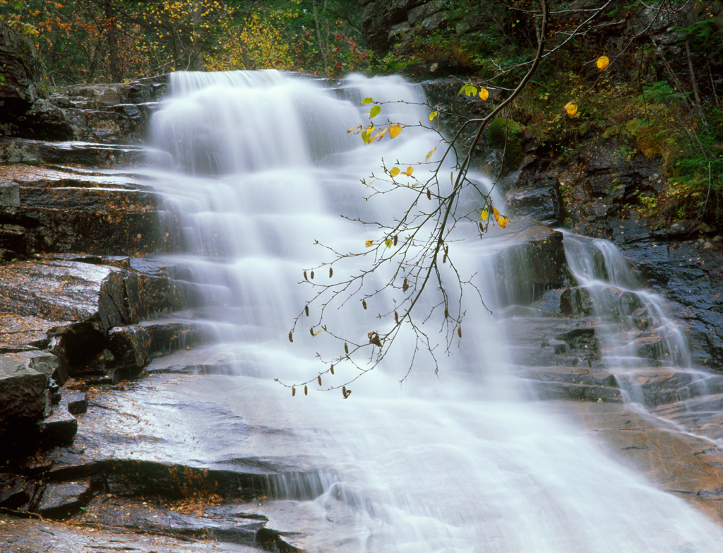 100-foot cascade is one of many in Crawford Notch State Park.