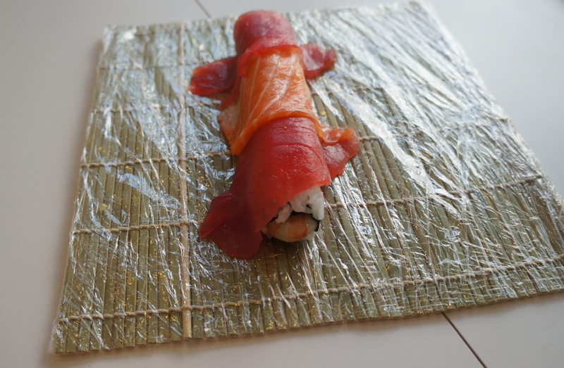 wrapped up sushi roll