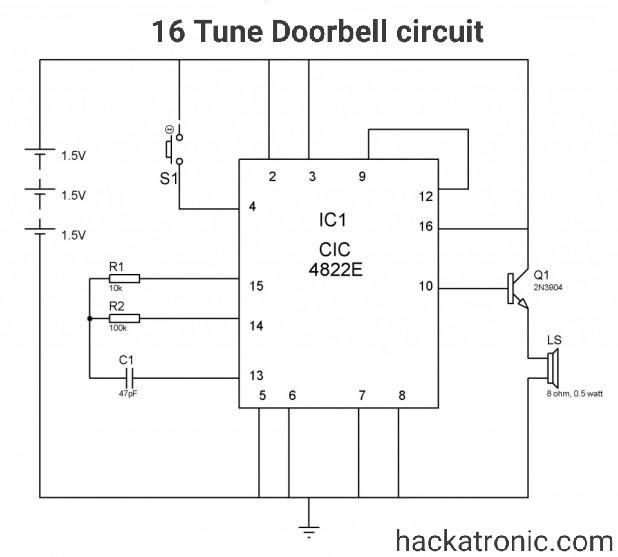 16 Tune Doorbell circuit