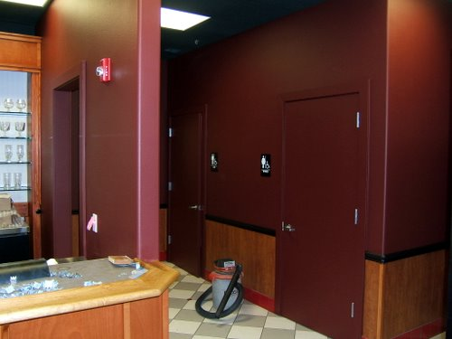 Abbey Pub hall and restrooms