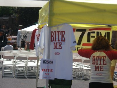Bite Me shirts from the 92.7 FM booth