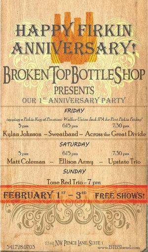 Broken Top Bottle Shop first annivesary