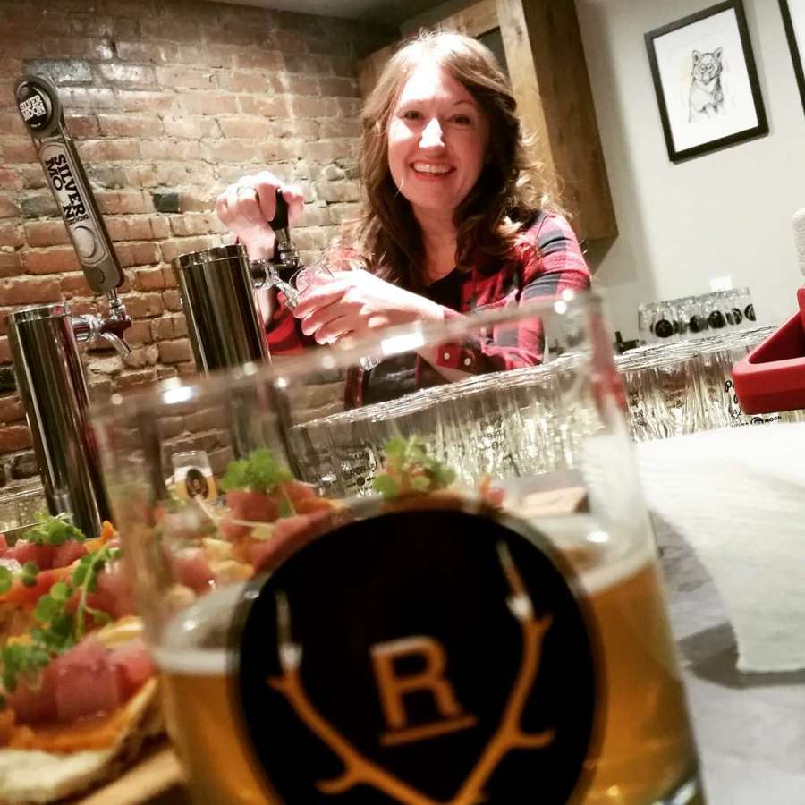 Pairing for a Purpose - Pam from Silver Moon pouring beer