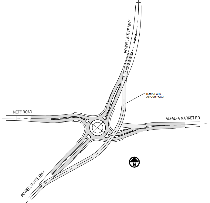 Powell Butte Highway road closure diagram