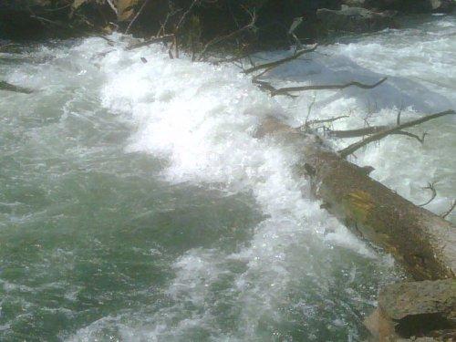Dangerous impassable logjam at Pringle Falls on the Deschutes River