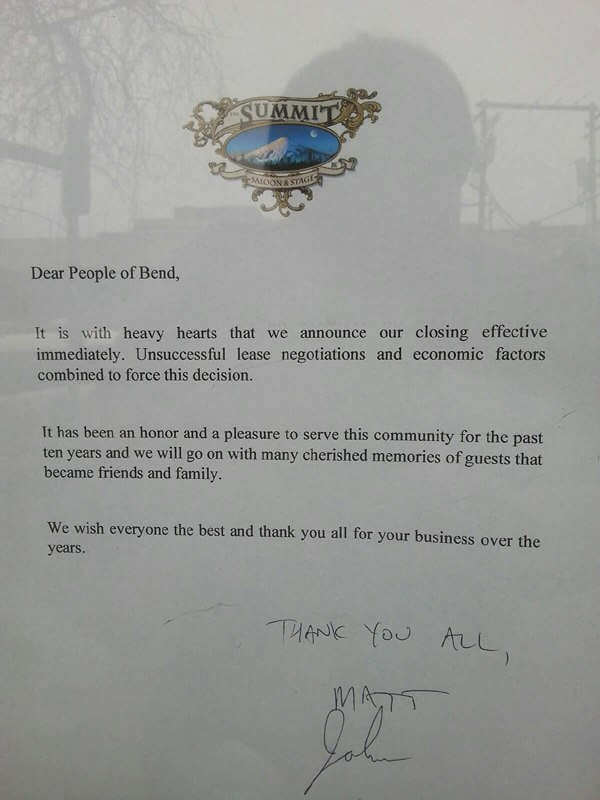 Summit Saloon closed letter