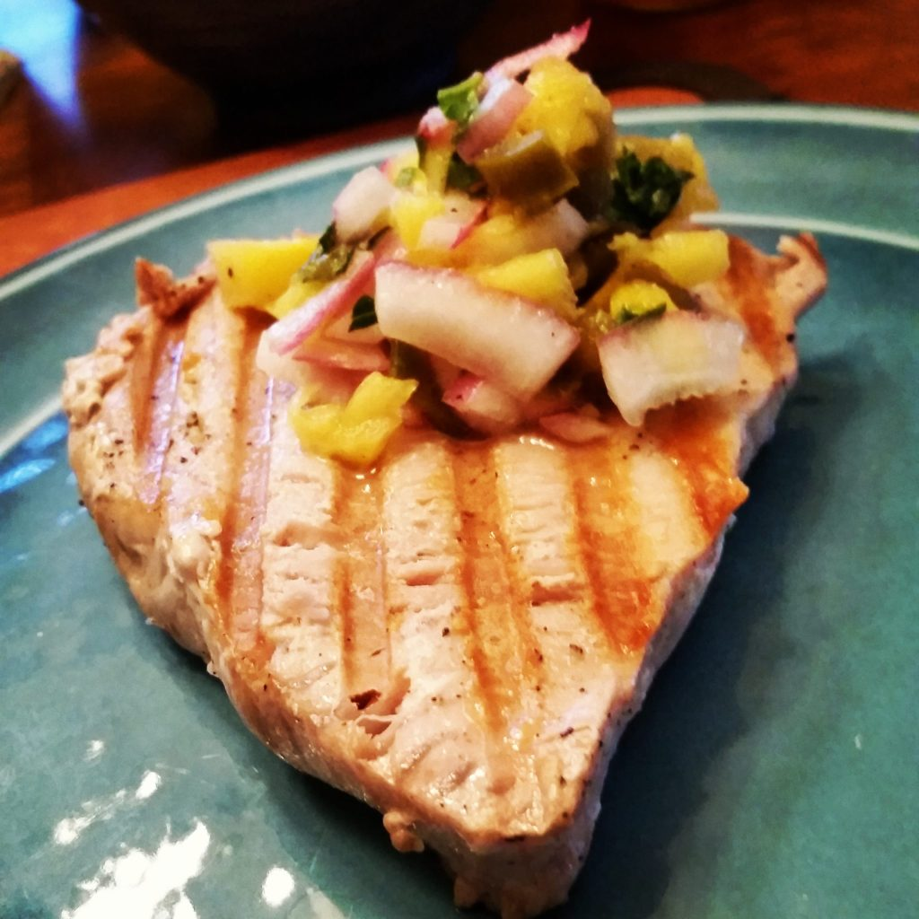 Low Sodium Grilled Swordfish with Pineapple Red Onion Relish #Tropical #HeartHealthy #BBQ