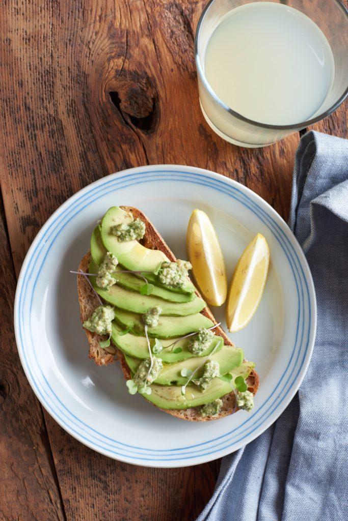 Low Sodium Avocado Toast with Basil Pesto