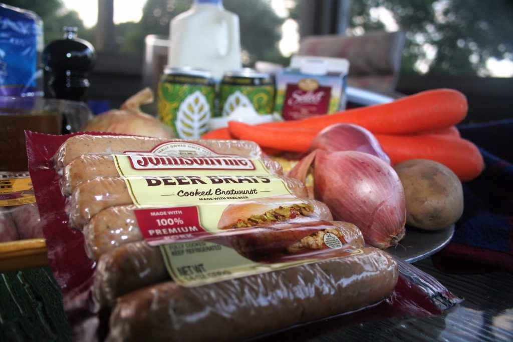Low Sodium Beer Brat and Cheese Chowder Johnsonville Beer Brat Links