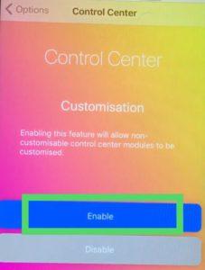 customize control center in ios11