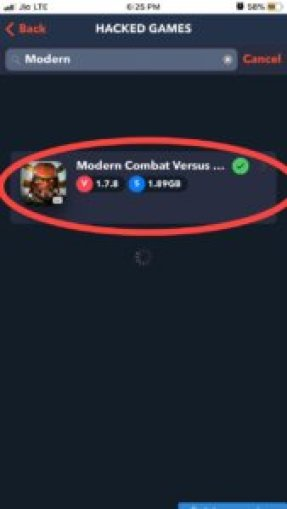 Search Modern Combat versus hack