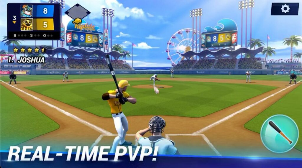 Real time multiplayer apple arcade game ballistic baseball