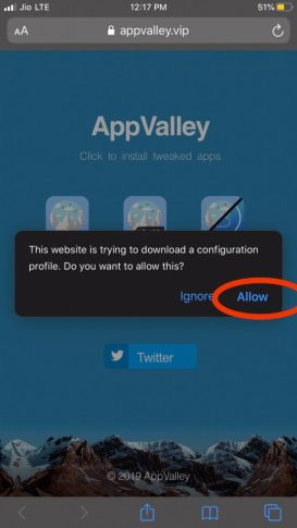 Allow appvalley
